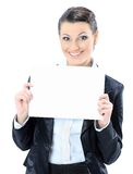 Nice business woman with a white banner. Royalty Free Stock Photography