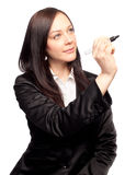 Nice business woman writing Royalty Free Stock Photo