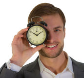 Businessman and alarm clock Royalty Free Stock Photos