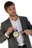 Businessman and alarm clock Royalty Free Stock Photography