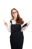 Nice businesswoman in glasses with a tablet PC Stock Image