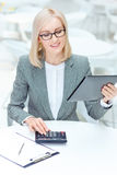 Nice businesswoman working in the cafe Stock Photo