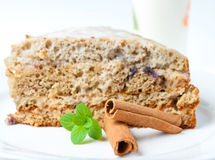 Nice cake with mint and cinnamon Royalty Free Stock Photography