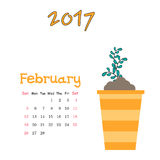 Nice calendar template for February 2017 with cute sprout. Vector calendar template for February 2017 with cute sprout Stock Image