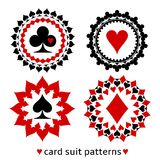 Nice card suit round patterns. Fancy elements of spade, heart, diamond and club for gambling design Royalty Free Stock Images
