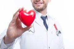 Nice cardiologist holding heart Stock Photos