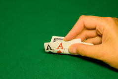 Nice cards in the casino. Two aces on pre-flop in poker casino Stock Photo