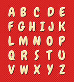 Nice cartoon alphabet. Uppercase round letters with shadow and reflection. Set on polka dots background royalty free illustration