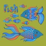 Nice cartoon fishes set. Vector image. Royalty Free Stock Photos