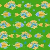 Nice cartoon fishes set. Vector seamless pattern. Stock Photo