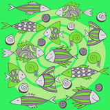 Nice cartoon fishes set. Vector seamless pattern. Royalty Free Stock Images