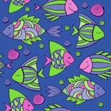 Nice cartoon fishes set. Vector seamless pattern. Royalty Free Stock Photos