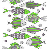 Nice cartoon fishes set. Vector seamless pattern. Stock Photography