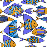 Nice cartoon fishes set. Vector seamless pattern. Stock Image