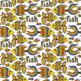 Nice cartoon fishes set. Vector seamless pattern. Royalty Free Stock Photography