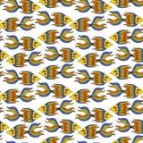 Nice cartoon fishes set. Vector seamless pattern. Cute cartoon fishes set. Vector seamless pattern Stock Photo
