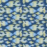 Nice cartoon fishes set. Vector seamless pattern. Cute cartoon fishes set. Vector seamless pattern Stock Photography