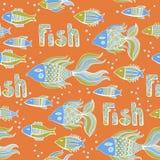 Nice cartoon fishes set. Vector seamless pattern. Stock Photos