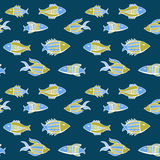 Nice cartoon fishes set. Vector seamless pattern. Royalty Free Stock Image