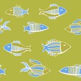 Nice cartoon fishes set. Vector seamless pattern. Royalty Free Stock Photo