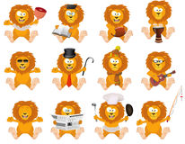 Nice cartoon lions set. In different variations royalty free illustration