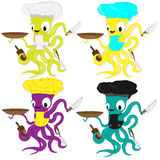 Nice cartoon octopus chef in cook hat. Royalty Free Stock Images