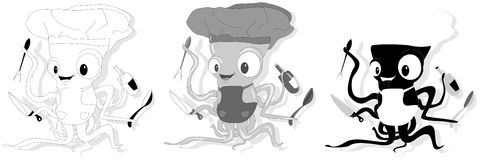 Nice cartoon octopus chef in cook hat. Stock Photography