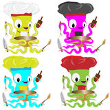 Nice cartoon octopus chef in cook hat. Royalty Free Stock Photos