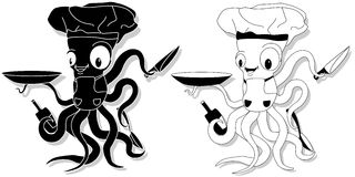 Nice cartoon octopus chef in cook hat. Stock Images