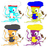 Nice cartoon octopus chef in cook hat. Royalty Free Stock Image