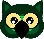 Nice cartoon owl face isolated Royalty Free Stock Images