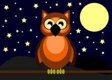 Nice cartoon owl at night Royalty Free Stock Image