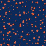 Nice cartoon star pattern with different stars icons on dark background Royalty Free Stock Photos