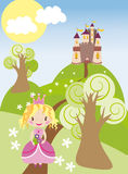 Nice castle with princess on the green hills. Vector graphic image with little fairy princess girl walking on the green hills near nice castle Stock Images