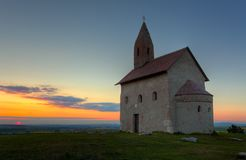 Nice Catholic Church in at sunset. Royalty Free Stock Photo