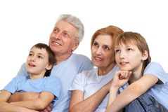 Nice Caucasian family of four Royalty Free Stock Photos