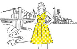 Nice Caucasian Girl with Yellow Dress in Front of New York. Skyline. Vector hand Drawn Sketch stock illustration