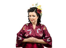 Nice caucasian lady wearing traditional kimono Stock Images