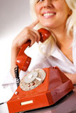 Nice caucasian model with red phone Royalty Free Stock Image