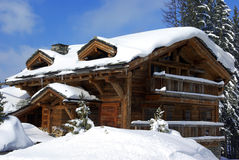 Nice chalet 2. Typical luxurious chalet in a French ski resort royalty free stock photo