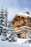 Nice chalet. In a French ski resort royalty free stock image