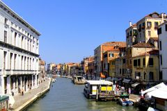 Nice channel in Venice. Channel and facade in Venice(Venetzia). Nice landscape and water way royalty free stock image