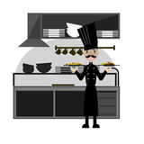 Nice Chef serving the dish.Flat style vector illustration Stock Images
