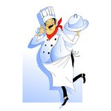 Nice Chef serving the dish. Vector illustration Stock Photos