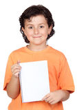 Nice child with blank notebook Stock Images