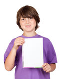 Nice child with blank notebook Royalty Free Stock Photography