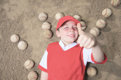 Nice child happy to play baseball Stock Image