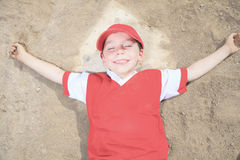 Nice child happy to play baseball Stock Photo