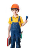Nice child in hardhat with plastic box and screwdrivers Stock Photography