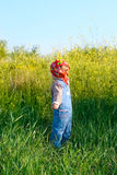 Nice child in the jeans coverall and red  bandana pluck flowers Stock Photography